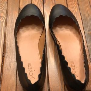 J crew leather scalloped flats